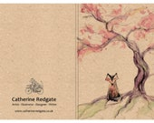 Sakura Cherry FOX - A6 ECO Jotter Artist Sketchpad Notebook - plain inside - stocking filler - by Catherine Redgate
