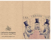 Top Hat BEAR lunch - A6 ECO Jotter Artist Sketchpad Notebook - plain inside- by Catherine Redgate