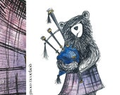 Scottish Bagpipe BEAR Greeting Card - blank inside- by Catherine Redgate