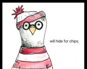 Scottish Seagull HUMOUR CHIPS Greeting Card - blank inside- by Catherine Redgate