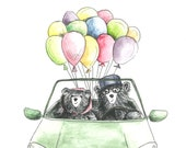 HAPPY BEAR CAR with balloons Greeting Card - blank inside - Happy Birthday Wedding Congratulations Celebration Love Couple!