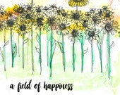 SUNFLOWERS - A field of happiness - Greeting Illustration Art Card - blank inside- by Catherine Redgate