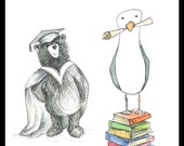 Graduation Card - BEAR & SEAGULL - blank inside- by Catherine Redgate