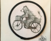 Bear on Bike - FABRIC PATCH - 9cm diameter- by Catherine Redgate