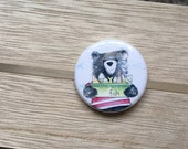 Bear & Fish - 32mm button badge- by Catherine Redgate