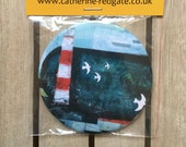 Harbour Light painting POCKET MIRROR arty lighthouse gift- by Catherine Redgate