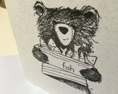 Bear & Fish Hand Stamped Greeting Card - blank inside- by Catherine Redgate