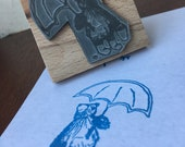 "Raining Umbrella BEAR - 2"" wooden rubber stamper- by Catherine Redgate"