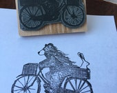 "Bear & Bike - 3"" wooden rubber stamper- by Catherine Redgate"