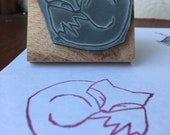 "Curled sleeping FOX - 2"" wooden rubber stamper- by Catherine Redgate"