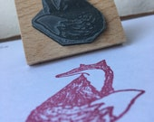 "Tall Gentry FOX - wooden rubber stamper - 2""- by Catherine Redgate"