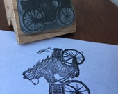 "Bear and Bike - 2"" wooden rubber stamper- by Catherine Redgate"