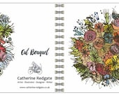 Cut Flower Bouquet - spiral-bound square notebook - plain inside- by Catherine Redgate
