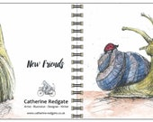 New Friends - spiral-bound square notebook - plain inside- by Catherine Redgate
