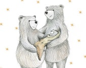 NEW BABY Bear illustrated Greeting Card - blank inside - by Catherine Redgate - boy - girl - family - congratulations