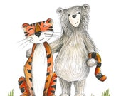 Bear & Tiger - Greeting Illustration Art Card - blank inside - by Catherine Redgate