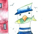 Captain Seagull fridge magnet  50mm x 50mm- by Catherine Redgate