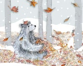 Early Snow Forest Bear - Greeting Illustration Art Card - blank inside- by Catherine Redgate - Christmas - Autumn - Scottish