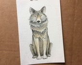 ORIGINAL Standing Wolf watercolour illustration - by Catherine Redgate - outdoor - animal - wildlife