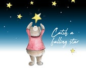 Catch a Falling Star Bear Greeting Illustration Art Card - blank inside- by Catherine Redgate
