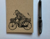 Bear on Bike - A6 ECO Jotter Artist Sketchpad - plain inside- by Catherine Redgate