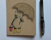 Umbrella Bear A6 ECO Jotter Artist Sketchpad - plain inside- by Catherine Redgate
