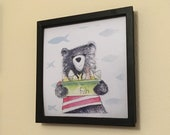 Bear & Fish ART PRINT - two square sizes- by Catherine Redgate