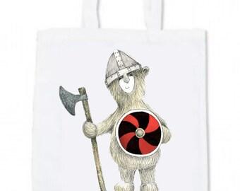 Viking Bear TOTE BAG - shop - cute - shopper - shoulder - soldier history historic Scottish Scandinavian - illustrated by Catherine Redgate