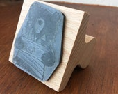"Bear and Fish - 2"" wooden rubber stamper- by Catherine Redgate"