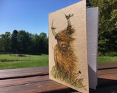 Heelan Coo - A6 ECO Jotter Artist Sketchpad Notebook - plain inside - stocking filler - by Catherine Redgate