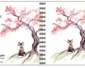 Cherry Fox spiral-bound square notebook - plain inside- by Catherine Redgate