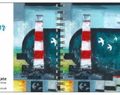 Harbour Light spiral-bound square notebook - plain inside- by Catherine Redgate