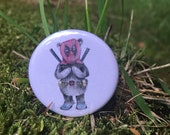 Deadpool Bear dress up - 32mm button badge - crocs - relax - funny- by Catherine Redgate
