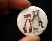 Bear and Tiger couple - 38mm button badge - valentine love - pin - friends - by Catherine Redgate