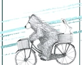 Bear & Bunny riding a bike Greeting Card - blank inside- by Catherine Redgate