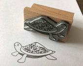 "CHIC TURTLE - 2"" wooden rubber stamper Catherine Redgate - Scotland Scottish bujo craft boho hippy pattern tortoise cute animal pet terrapin"