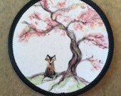 Sakura Cherry Fox - fabric PATCH - 9cm diameter- by Catherine Redgate