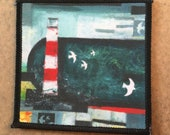 Harbour Light LIGHTHOUSE - FABRIC PATCH - 9cm square- by Catherine Redgate