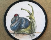 New Friends - Snail & Ladybird - FABRIC PATCH - 9cm diameter- by Catherine Redgate