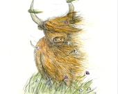 Windy Heelan Coo Greeting Card - blank inside- by Catherine Redgate - Highland Cow - Scotland - Scottish