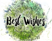 Best Wishes green bouquet Greeting Illustration Art Card - blank inside- by Catherine Redgate