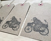 BEAR and BIKE - hand-stamped gift tags- by Catherine Redgate