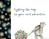 FIREFLY BEAR CART adventure card - illustration illustrated Greeting Card - blank inside- by Catherine Redgate - cute journey travel