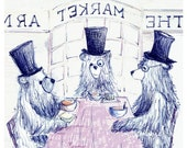 Soup & a Sandwich Bear Greeting Illustration Art Card - blank inside- by Catherine Redgate