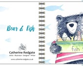 Bear & Fish wire square notebook - plain inside- by Catherine Redgate