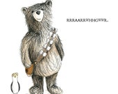 Chewbacca Bear & Porg Greeting Card - blank inside- by Catherine Redgate