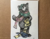 ORIGINAL 'Which House' Wizard Bear watercolour illustration - by Catherine Redgate - scarf - wand - glasses - cute