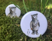 Chewie Bear & Seagull dress up - 32mm button badge - two types; Star Wars - Porg - Chewbacca- by Catherine Redgate