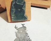 "HEELAN COO - 2"" wooden rubber stamper- by Catherine Redgate - Scotland - Scottish - Highland Cow - shaggy - windswept"