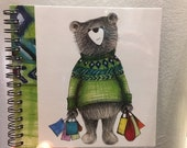 Shopping bear ILLUSTRATED spiral-bound square notebook - plain inside- by Catherine Redgate